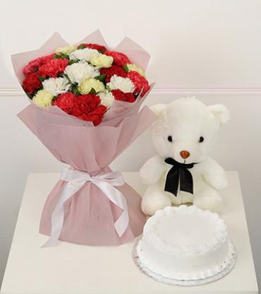 Bunch-of-20-mix-carnations-with-half-kg-vanilla-cake-teddy