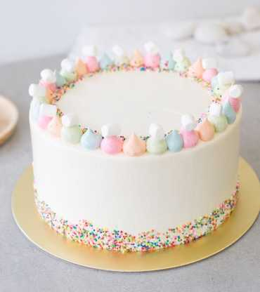 Round Vanilla Sprinkles Cake