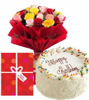 white-ores-cake-and-mix-rose-with-paper-packing,-greeting-card