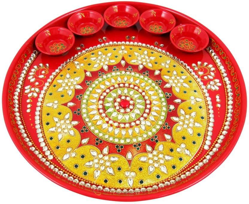 Red Designer Holi Pooja Thali
