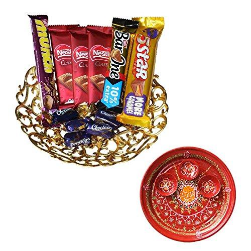 Holi Pooja thali with chocolates